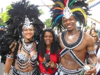 My half wig 'workin' it! for the BBC at the Notting Hill Carnival